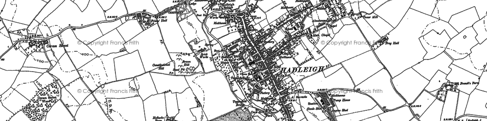 Old map of Hadleigh in 1884