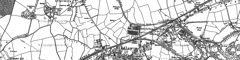 Old map of Hadley in 1881