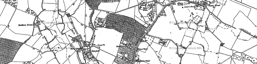 Old map of Hadlow in 1868