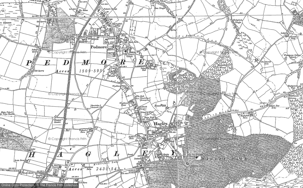 Old Map of Historic Map covering Wychbury in 1882