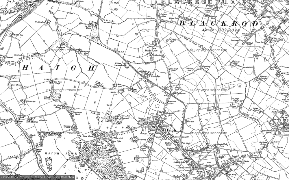 Old Map of Historic Map covering Winstanleys in 1892