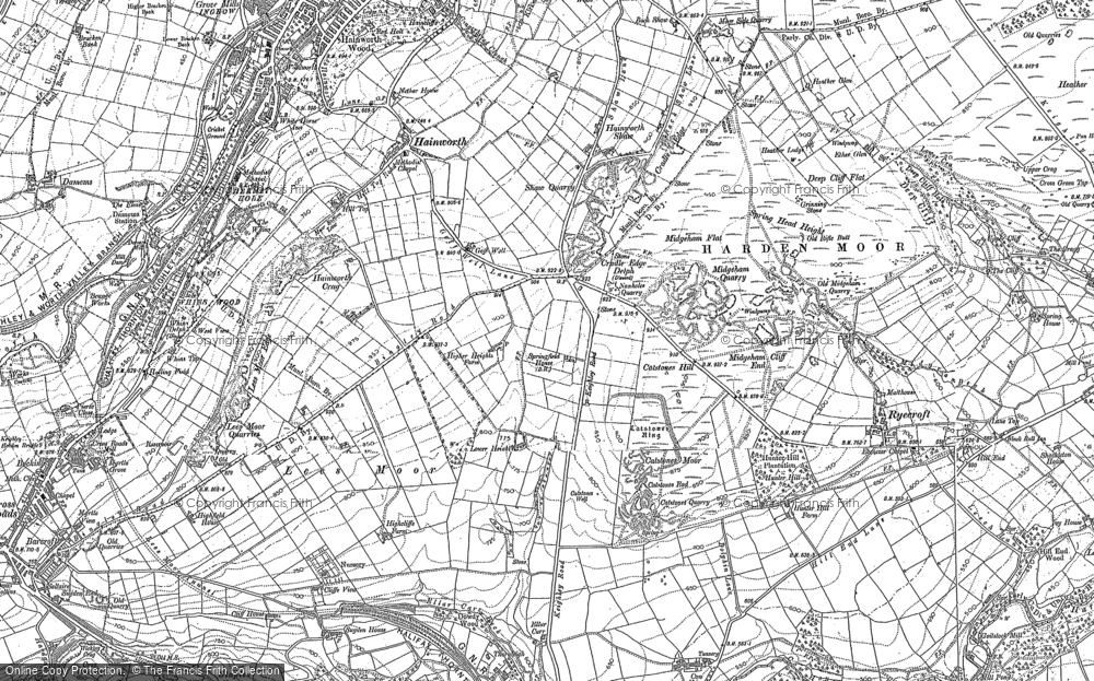 Old Map of Historic Map covering Lees Moor in 1892
