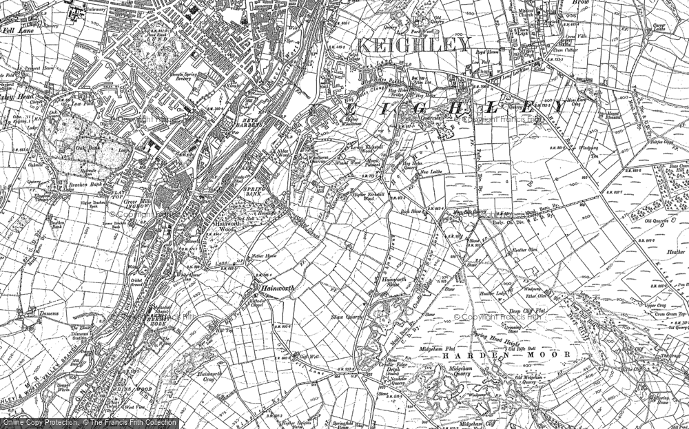 Old Map of Historic Map covering Back Shaw in 1848