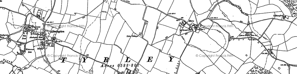 Old map of Hales in 1879