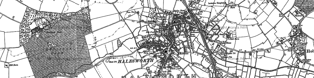 Old map of Halesworth in 1882