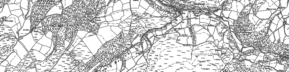 Old map of Afon Gwydderig in 1903