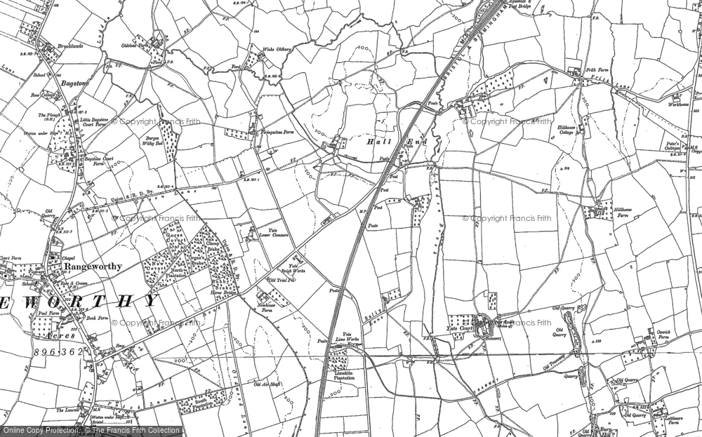 Old Map of Historic Map covering Yate Court in 1881