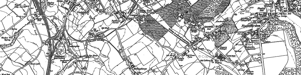 Old map of Woolley Edge Service Area in 1890