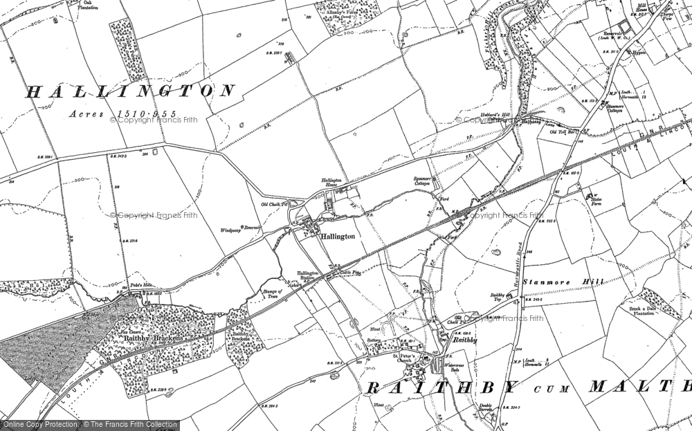 Old Map of Historic Map covering Allenby's Furze in 1886
