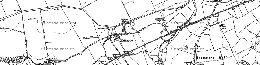 Old map of Allenby's Furze in 1886