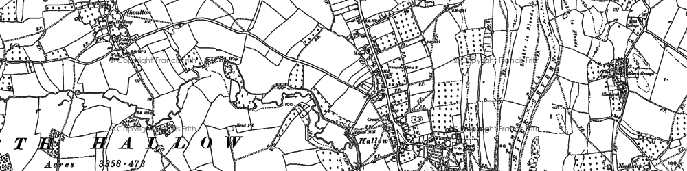 Old map of Hallow in 1884