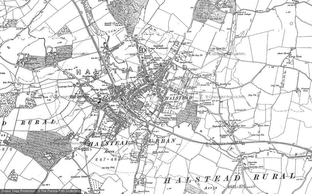 Old Map of Historic Map covering Abbot's Shrub in 1896