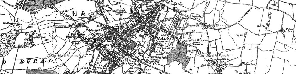 Old map of Halstead in 1896