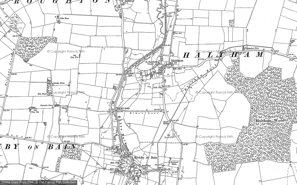 Old Map of Haltham, 1887 in 1887