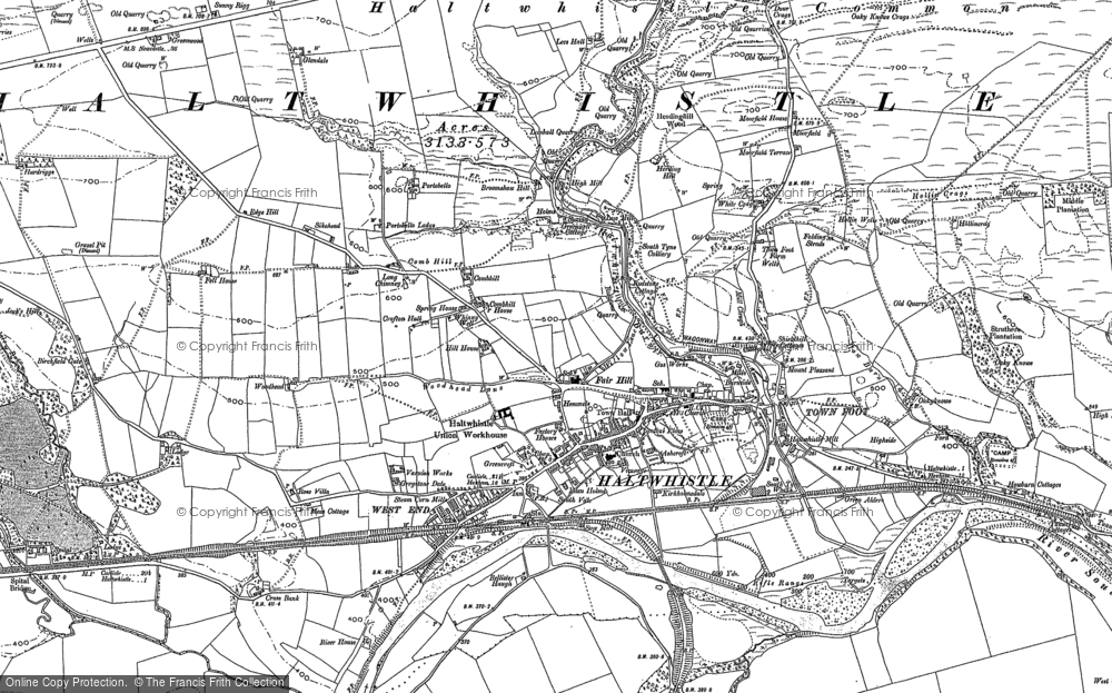 Old Map of Historic Map covering Aesica (Roman Fort) in 1895