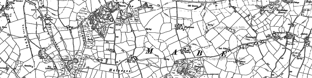 Old map of Halvosso in 1878