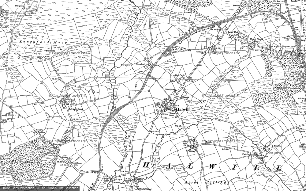 Old Map of Historic Map covering Langaford Moor in 1883