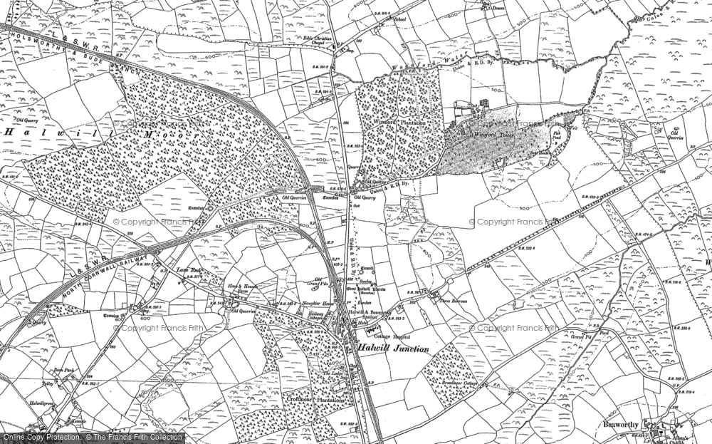 Old Map of Historic Map covering Lane End in 1883