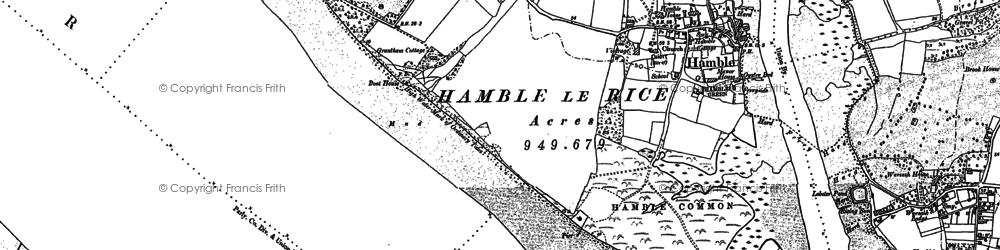 Old map of Hamble-le-Rice in 1895