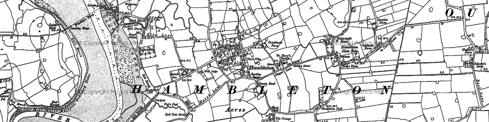Old map of Hambleton in 1909