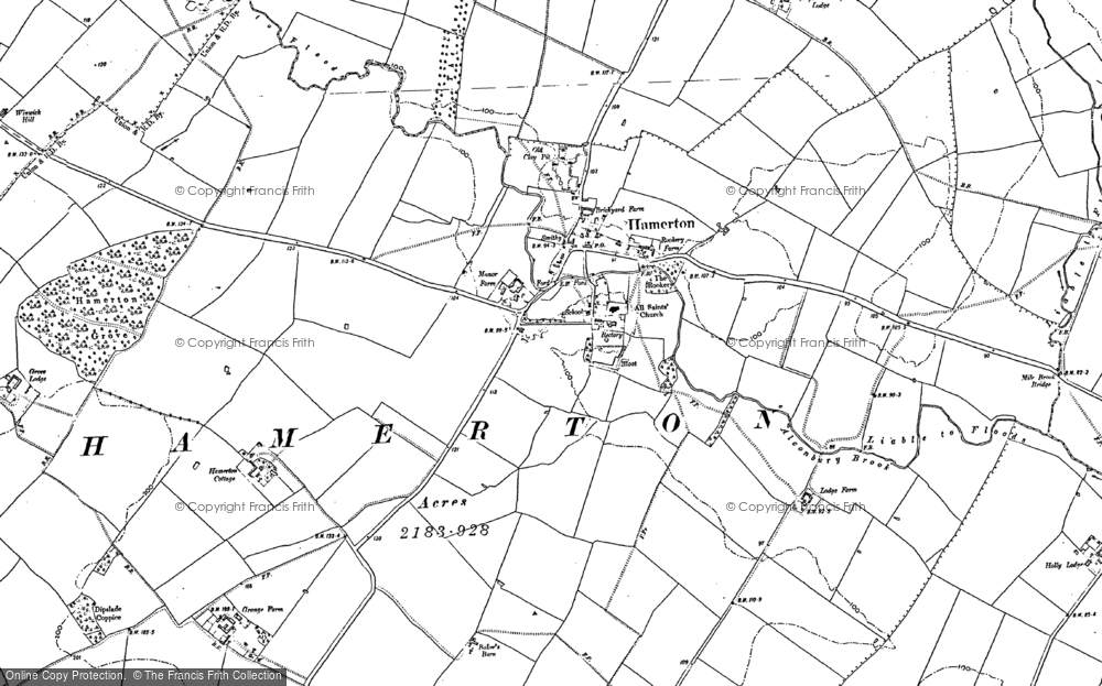 Old Map of Historic Map covering Alconbury Brook in 1887