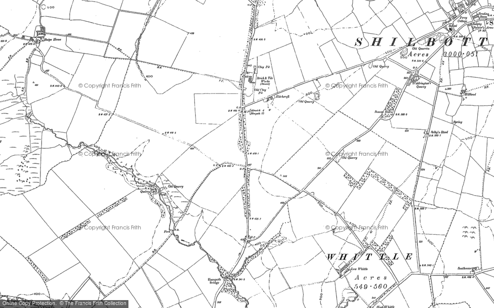 Old Map of Historic Map covering Whittle Colliery in 1896