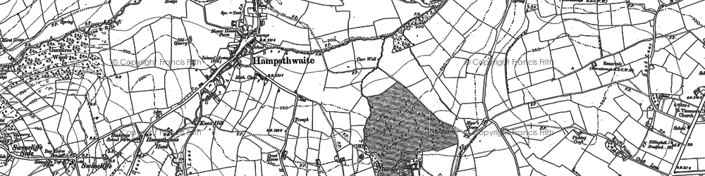 Old map of Hampsthwaite in 1889