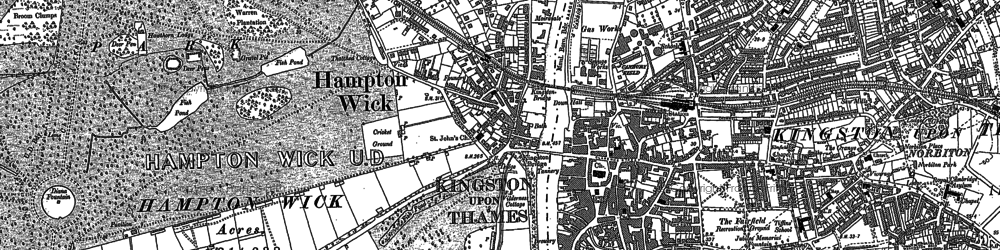 Old map of Hampton Court in 1895
