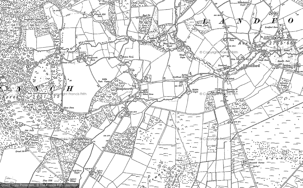 Old Map of Historic Map covering Bagfield Copse in 1895
