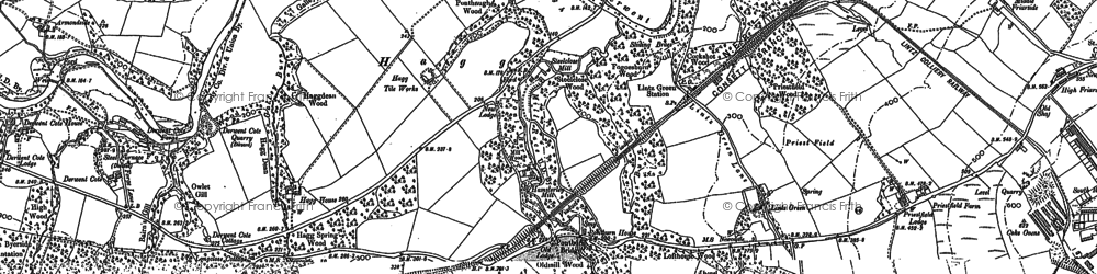 Old map of Hamsterley Mill in 1915