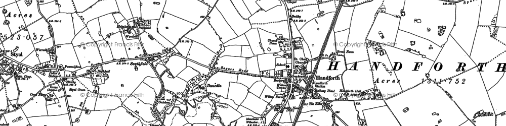 Old map of Handforth in 1897