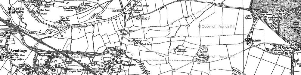 Old map of Handsacre in 1882