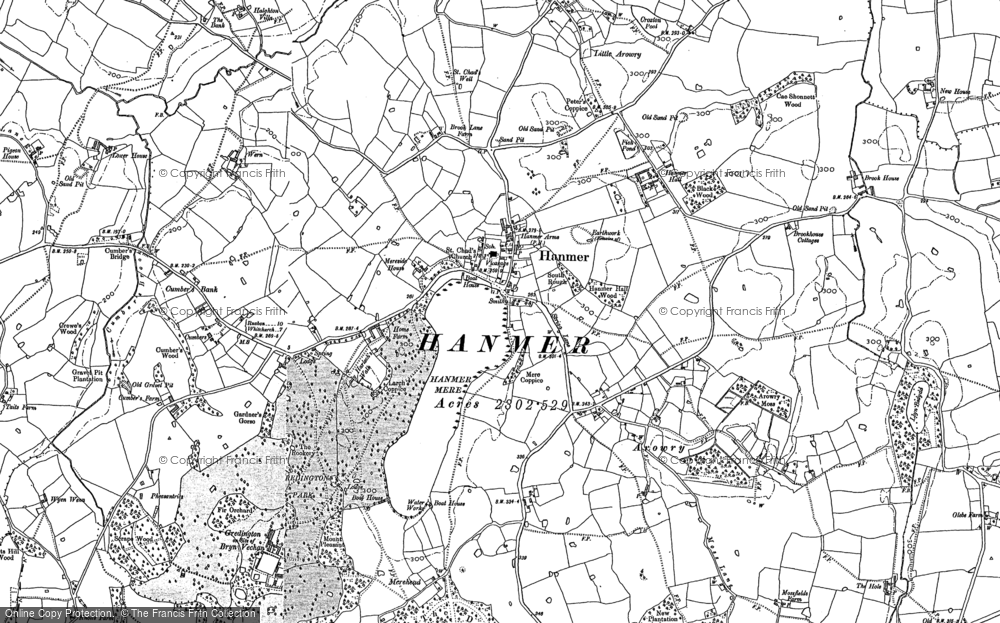 Old Map of Hanmer, 1909 in 1909