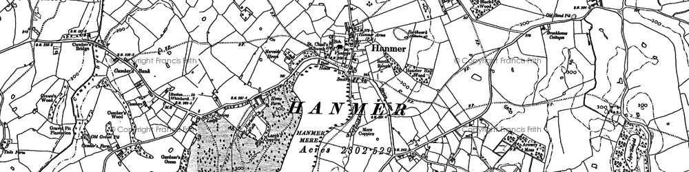 Old map of Hanmer in 1909