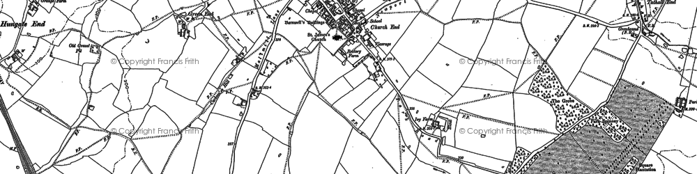 Old map of Hanslope in 1899