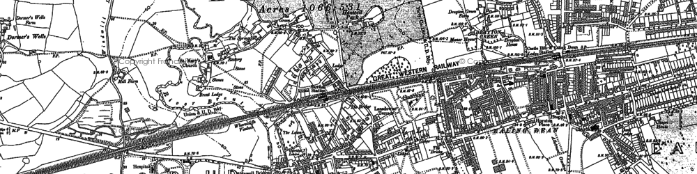 Old map of Hanwell in 1865