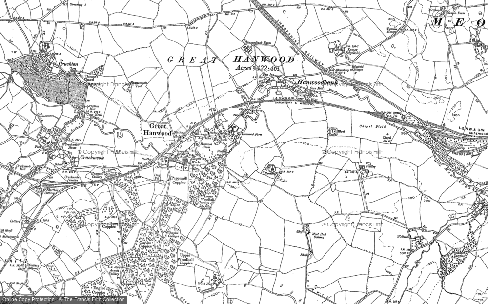 Old Map of Hanwood, 1881 in 1881