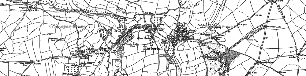Old map of Harberton in 1886