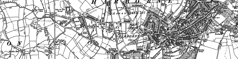 Old map of Harborne in 1901