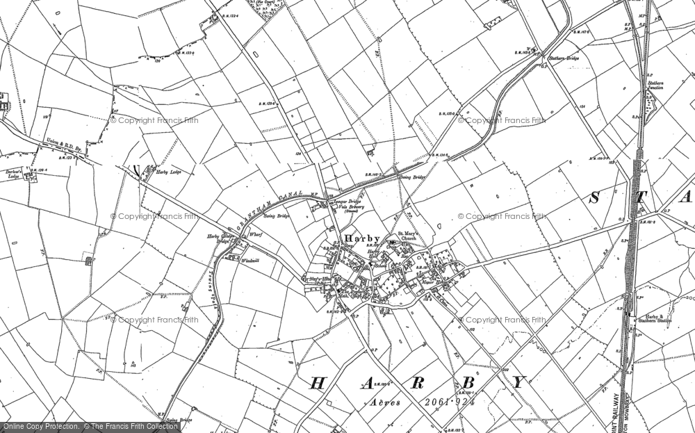Old Map of Historic Map covering Langar Lodge in 1899