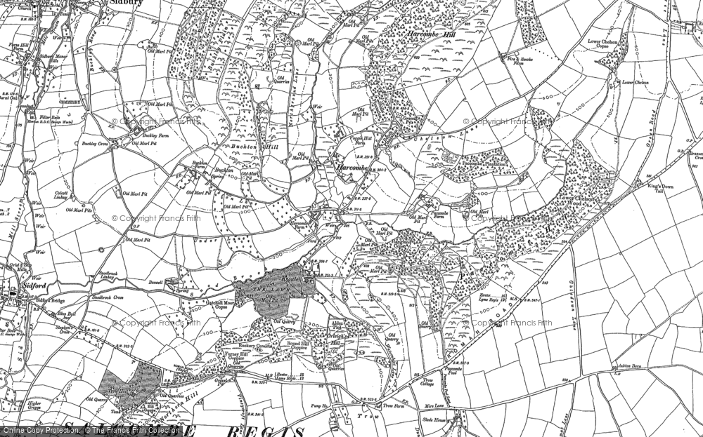 Old Map of Harcombe, 1888 in 1888