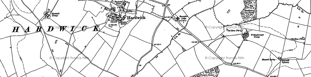 Old map of Wilby Hall in 1884
