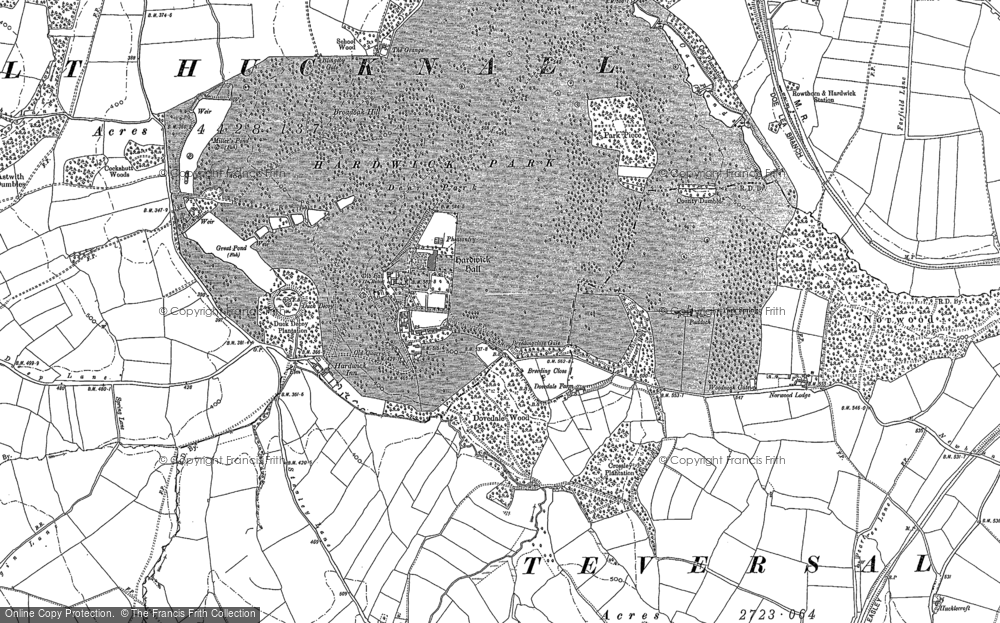 Old Map of Hardwick Hall, 1877 - 1897 in 1877