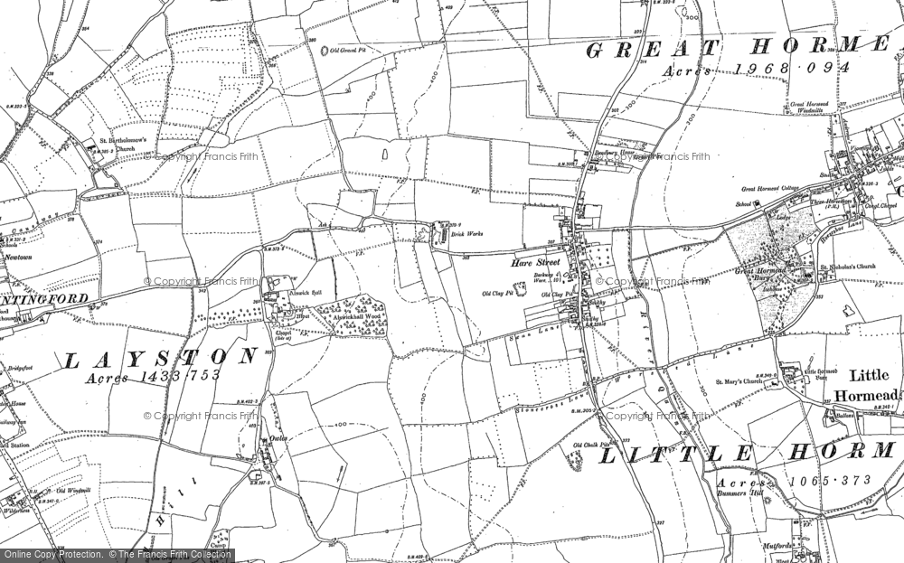Old Map of Hare Street, 1896 in 1896