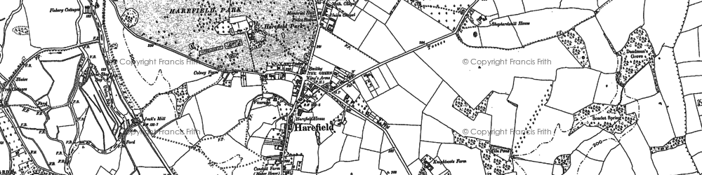 Old map of Harefield in 1913