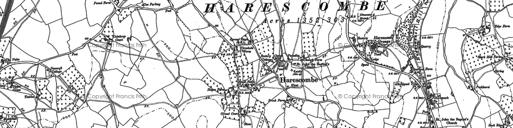 Old map of Bacchus in 1882