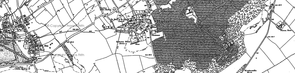 Old map of Harlaxton in 1886