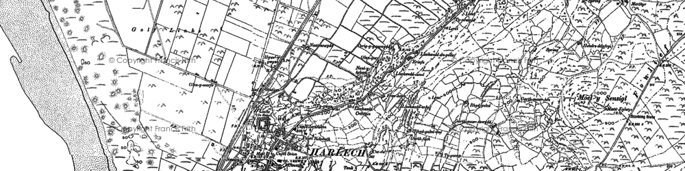 Old map of Harlech in 1887