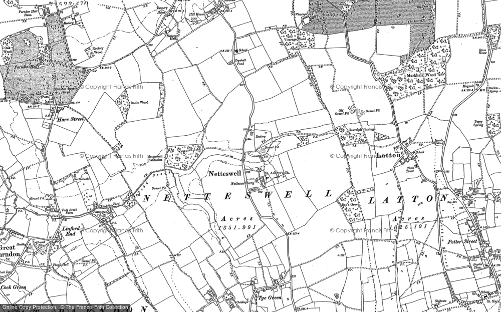 Map of Harlow, 1895