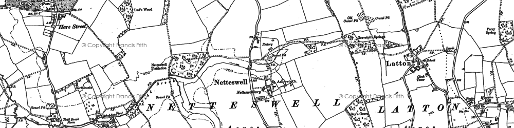 Old map of Harlow in 1895
